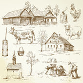 Farm, rural houses - hand drawn collection — Stock Vector