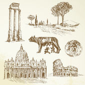 Italy - Rome - hand drawn collection — Vettoriale Stock