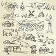 Vecteur: Hand drawn illustration - farm