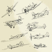 Hand drawn airplanes — Stock Vector