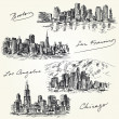 American cities skylines - hand drawn set — Stock Vector #33953593
