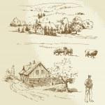 Rural landscape, agriculture, farm — Stock Vector #33953821