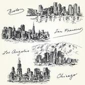 American cities skylines - hand drawn set — Stock Vector