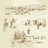 Rural village, agriculture - hand drawn illustration — Stock Vector