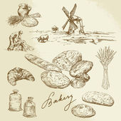 Bakery, rural landscape, bread — Stock Vector
