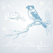 Romantic christmas card with bird — Stock Vector