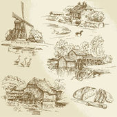 Hand drawn collection - windmill and watermill — Stock Vector