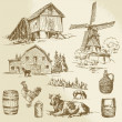 Rural landscape, farm - hand drawn windmill and watermill — Stock Vector #40507461