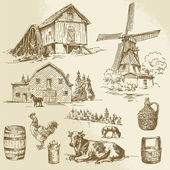 Rural landscape, farm - hand drawn windmill and watermill — Stock Vector