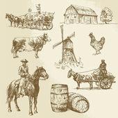 Rural landscape, farm - hand drawn windmill — Stock Vector