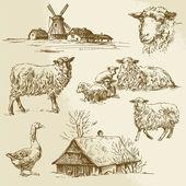 Paisaje rural, animales de granja - ilustración dibujados a mano — Vector de stock