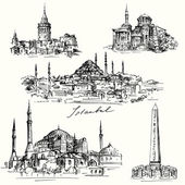 Iistanbul - Hagia Sofia - hand drawn collection — Stock Vector