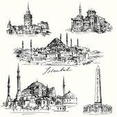 Iistanbul - Hagia Sofia - hand drawn collection — Stock Vector