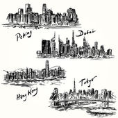 Tokyo, Peking, Hong Kong, Dubai — Stock Vector