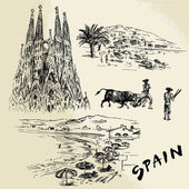 Spain - hand drawn collection — Stock Vector