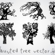 Stock Vector: Haunted tree vector set