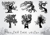 Haunted tree vector set — Stock Vector