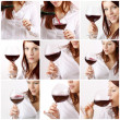 Beautiful young woman enjoying wine - Stock Photo