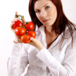 Woman holding tomatoes — Stock Photo #14755313