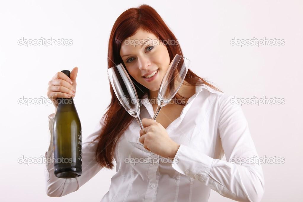 红酒的女人 - 图库图片
