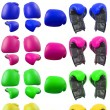 Colored boxing gloves - Stock Photo