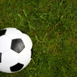 Soccer ball on green grass. — Stock Photo