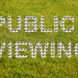 """Public viewing"" lettering from many footballs - Stock Photo"