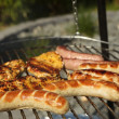 Sausages on the grill — Stock Photo