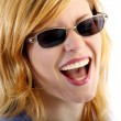 Young crying woman with sunglasses — Stock Photo