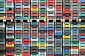 Plastic boxes stacked — Stock Photo