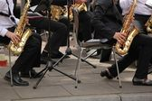 Saxophone players in action — Stockfoto