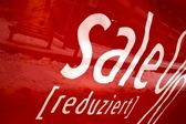 Poster Sale on a red background — Stock Photo