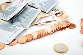 Euro coins on banknote money background — Stock Photo