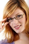 Young woman with eyeglasses — Stock Photo