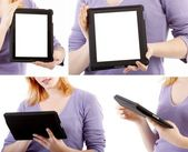 Set of Tablet PC with woman and hands — Stock Photo