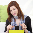 Young woman with blank panel — Stock Photo
