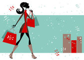 Christmas Shopping Woman — Stock Vector