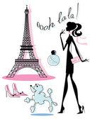Zestaw francuski ikona — Wektor stockowy