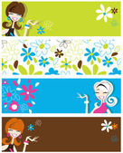 Fun banners featuring retro styled flirty girls and flowers — Stock Vector