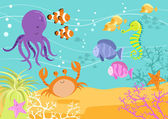 Sea Creatures Underwater Scene — Stock Vector