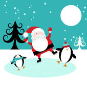 Cute Santa Skating on Ice With Penguins — Stock Vector