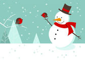 Snowman and Robins Christmas scene — Stock Vector