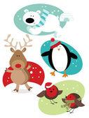 Divertidos personajes de navidad — Vector de stock
