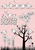 Cute Birdie Set - Spring /Summer — Vector de stock