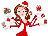 Woman Juggling Christmas Gifts — Stock Vector