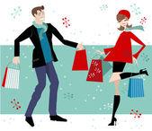 Shopping Couple — Stock Vector