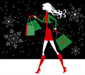 Girl Christmas Shopping in Snow — Stock Vector