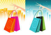 Elegant Hands Holding Shopping Bags — Vecteur