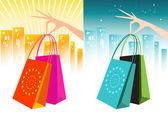 Elegantes manos sosteniendo bolsas de compras — Vector de stock