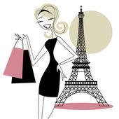 Pretty Girl Shopping In Paris — Stock Vector